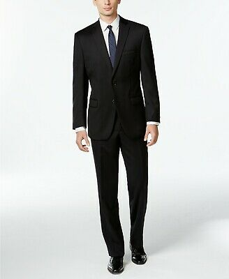 $650 Calvin Klein Mitchell Black Solid Slim Fit Suit Mens 38R 32w Unhem NEW
