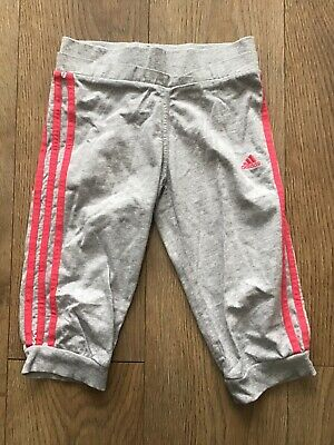 Adidas Girls Age 7-8 Years Grey Tracksuit Bottoms cropped T25 combine p&p