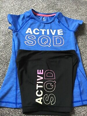 Girls ACTIVE SQD sports Top & Shorts From H&M 10-12 Years Gym Dance - Blue Black