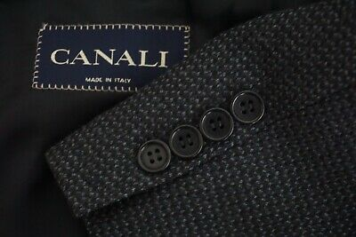 Canali Blue Black Woven 100% Wool Sport Coat Jacket Sz 46R Made in Italy