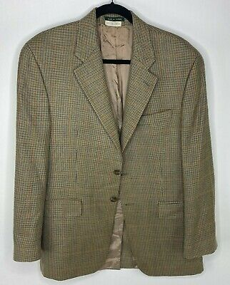 Lauren Ralph Lauren Belton Baker Brown Hounds Tooth Blazer Mens size 39R button