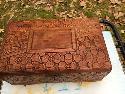 Vintage Hand Carved Wooden Chest Jewelry Box 4 leaf clover Mirror Footed Box