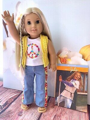 American Girl Julie Doll & Book BeForever Julie in Full Meet Outfit, Shoes EUC