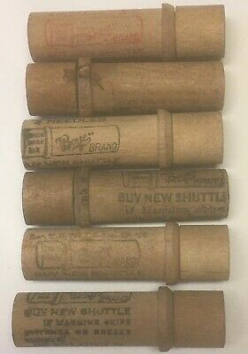 6 Vintage Boye Needle Co Wood Containers Advertising Wooden Tubes Sewing Machine