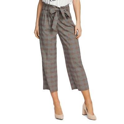 1.State Womens Black-Ivory Plaid Tie Front Cropped Paperbag Pants 10 BHFO 2736