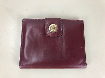 Vintage Bosca Brown Red Leather Wallet Credit Card Holder Italy TRAVEL ORGANIZER