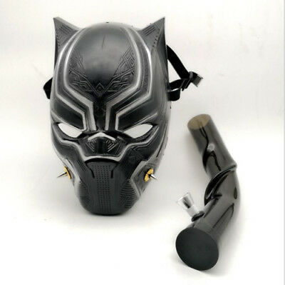 Silicone Gas Mask Bong Panther Smoking Water Pipe With Flexible Pipe Black