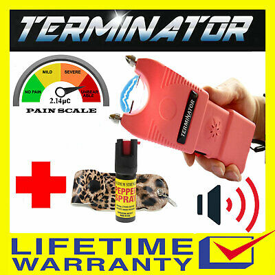 Terminator Max Power Police Stun Gun w/ Siren Flashlight and Black Pepper Spray