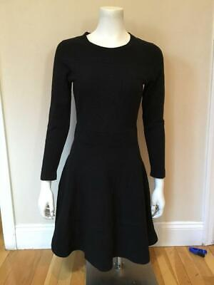 VGUC Sandro Black long sleeve textured knit fit & flare dress Sz 3 (L)