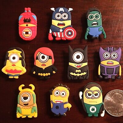 10 Shoe Charms for Crocs Despicable Me Super Hero MINIONS Hulk Batman Spider Man