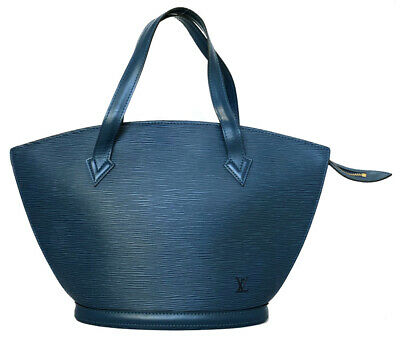Authentic LOUIS VUITTON Saint-Jacques handbag M52275 epi Toledo Blue hand bag