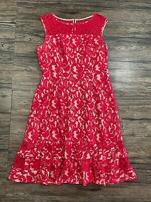 Adrianna Papell Lace Fit And Flare Dress Sz 14 Womens 13T