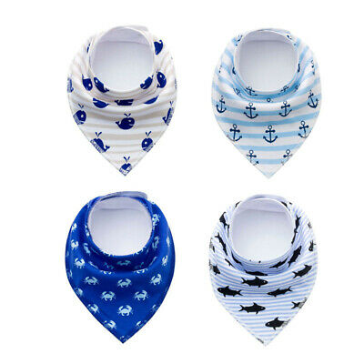 4x Newborn Baby Infant Kids Boys Cotton Blue White Bandana Dribble Feeding Bibs