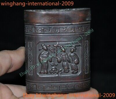 Old Chinese Bronze Ancient People Figure Crane fish Jewelry Boxes jewellery box