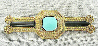 Art Deco Turquoise Agate Gilt Bronze Large Pin Brooch