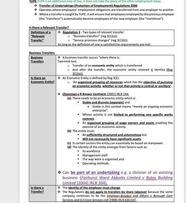 LPC Notes 2020 Employment Law -UPDATED For Jan 2020 Exam- Distinction Achieved