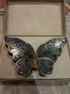 Chinese Vintage Cloisonné enamel butterfly trinket box Excellent conditionboxed