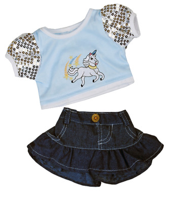 """Unicorn Teddy Bear glitter clothes outfit to fit 16"""" build a bear and animals"""