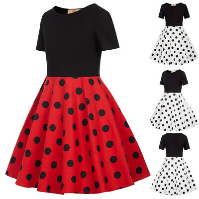 New Cute Kids Girls Polka Dot Dress Party Children Short Sleeve Casual Clothes