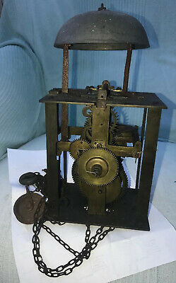 Antique 30 Hour BirdcageLongcase Clock Movement With Bell, Chain, And Pulley