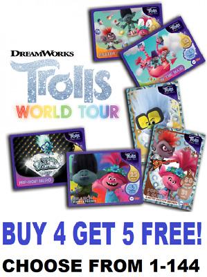Topps TROLLS WORLD TOUR TRADING CARDS ☆ (2020)  BUY 4 GET 5 FREE!! CHOOSE 1-144