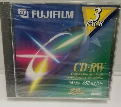 FujiFilm 3-Pack of 74-Minute • 650 MB CD-RW Compact Discs ~ Brand New & Sealed!