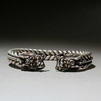 Collectable China Miao Silver Handwork Carve Dragon Head Exorcism Lucky Bracelet