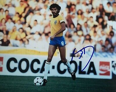 Socrates signed 10x8 Brazil photo Image C UACC AFTAL registered dealer COA RACC