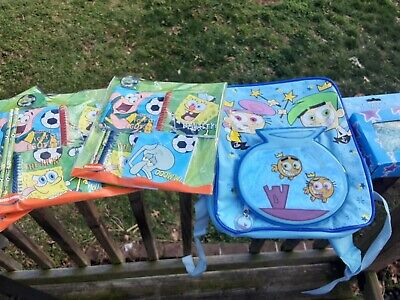 Spongebob Squarepants Stationary/Hat with Gloves NEW  Lot of 7 Backpack, ect