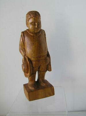 "Spanish Mexican Wood Carving of Man holding Hat Folk ART 13"" early patina signed"