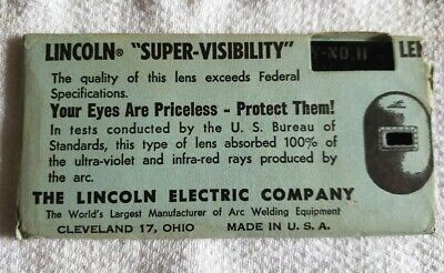 "Vintage Lincoln Welding Helmet Lens Super Visibility 2"" x 4 1/4 Shade No. 11 NOS"