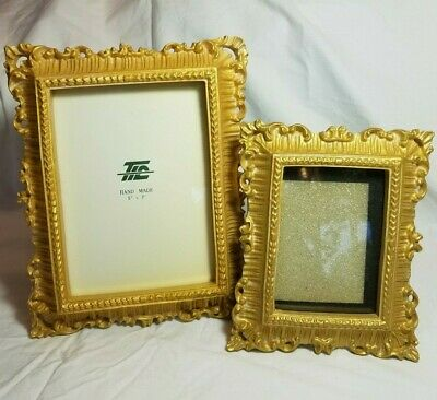 "2 Vintage Ornate Gold Color Picture Frames 3""x4"" 5""x7"" The Import Collection EUC"