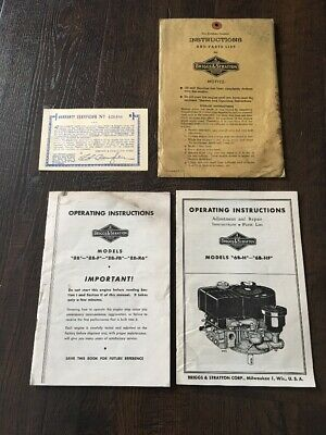 Pair Of Briggs & Stratton Operating Instructions And Original Warranty