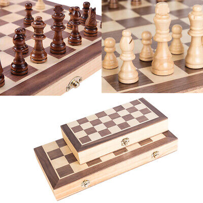 Foldable Chess Wooden Set Folding Chessboard Magnetic Pieces Wood Board Gift UK
