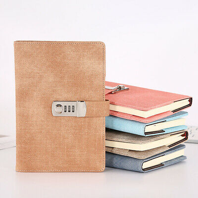 Girls Diaries Notebook PU Leather With Code Lock Secret Diary T4S