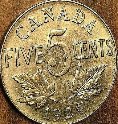 1924 CANADA 5 CENTS COIN - Excellent example !
