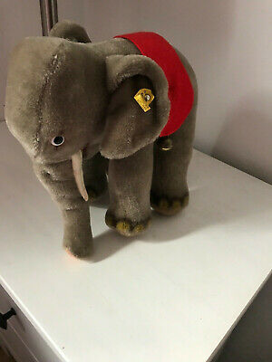 Vintage Steiff Germany Elephant with saddle and bells--Rare!