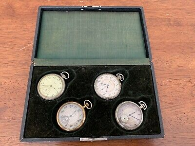 LOT OF 4 ANTIQUE POCKET WATCHES SOUTH BEND ELGIN & Original Display Case Working