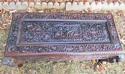 "Antique Chinese Chest Highly Hand Carved Wooden Coffer KL Co 4-Caryatids 47""x20"""
