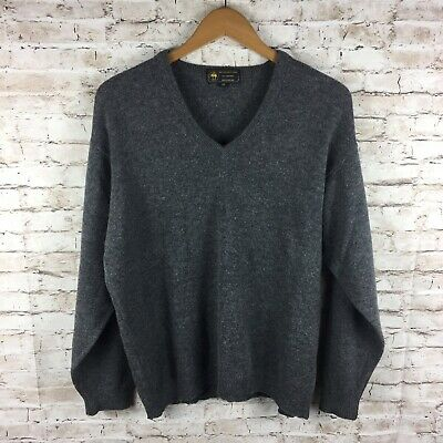Brooks Brothers Mens Medium Gray 100% Lambs Wool V Neck Sweater