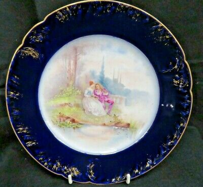"""French Antique Hand Painted Romancer 9.75"""" Plate (Cobalt Blue, Gold)"""