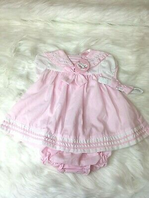 Spanish style sailor Baby Girls Dress and Knickers Headband Pink /Blue 03 -69 m
