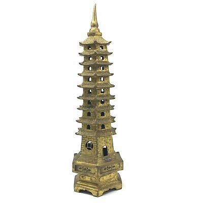 Handcrafted Brass Chinese Buddhist Pagoda Tower Statue Figurine -9 Levels 12""