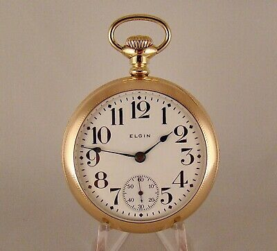 ANTIQUE ELGIN FATHER TIME 21j 14k GOLD FILLED OPEN FACE SIZE 18s RR POCKET WATCH
