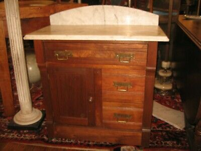 1800s ANTIQUE VICTORIAN WALNUT WASH STAND WHITE MARBLE TOP w BACK PICK UP ONLY