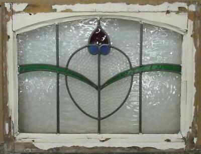 "MIDSIZE OLD ENGLISH LEADED STAINED GLASS WINDOW Arched Abstract 24.25"" x 18.5"""