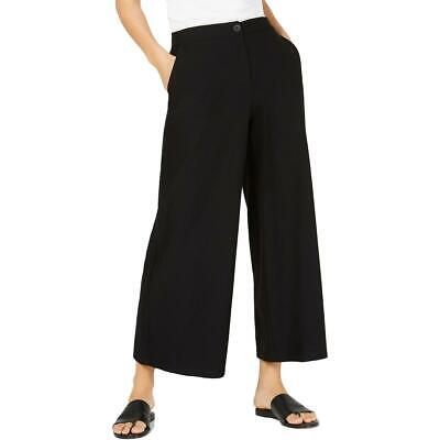 Eileen Fisher Womens Black High Waist Cropped Ankle Wide Leg Pants 12 BHFO 6371