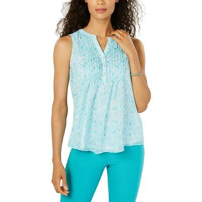 Charter Club Womens Blue Pintucked Sleeveless Top Shirt Petites PXL BHFO 2696