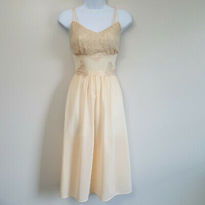 Vintage Lorraine Nude Ivory Lace Applique Nylon Nightgown Sissy Pinup Sz 34