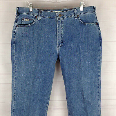 Lee womens size 14S stretch blue medium wash high rise relaxed straight jeans